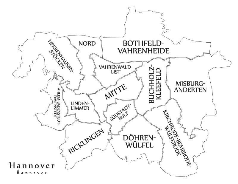 Hannover Karte - hier verteilen wir überall Flyer